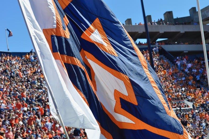 Auburn University Cheerleaders wave the flag to celebrate a touchdown during Auburn Football vs. Tennessee on Saturday, Oct. 13, 2018 in Auburn, Ala.