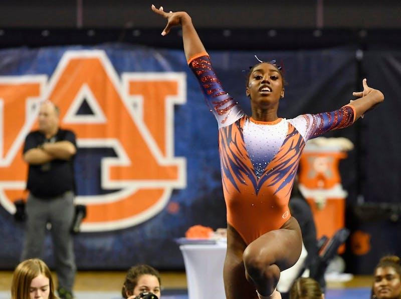 Derrian Gobourne during her floor routine. AU Gymnastics vs Alabama on Friday, Jan. 10, 2020 in Auburn, Ala.