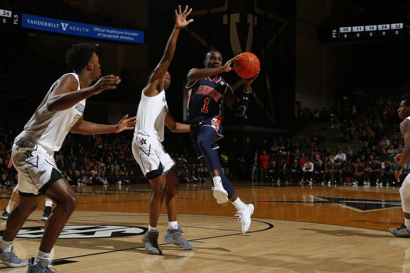 Jared Harper drives to the basket during the first half at Memorial Gym on February 16, 2019 in Nashville, Tennessee.