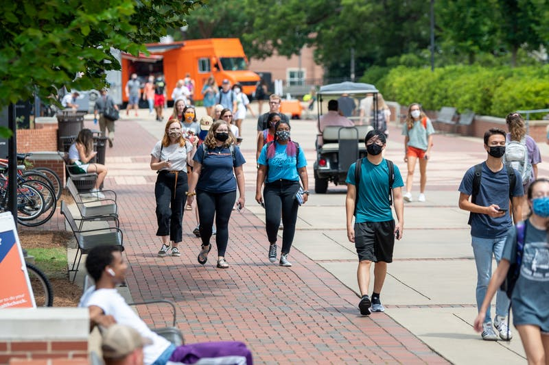 Auburn students walk on the Haley Concourse on the first day of class on Monday, Aug. 17, 2020, in Auburn, Ala.