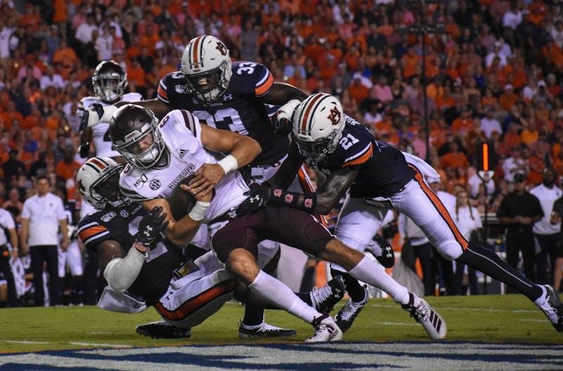 Auburn tackles Mississippi State during Auburn vs. Mississippi State, on Saturday, Sept. 28, 2019, in Auburn, Ala.