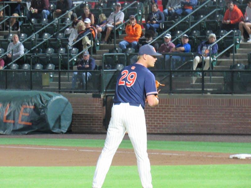 Carson Skipper (29) pitching for Auburn against Texas A&M on May 14, 2021 at Plainsman Park; Auburn, AL.