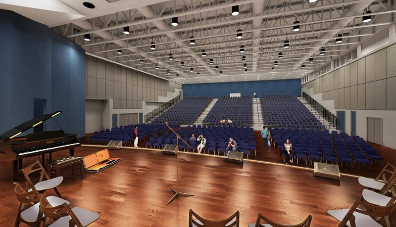 The new Student Activities Center ballroom will include an expanded stage, new lighting, theater equipment, acoustical treatment and event furniture.