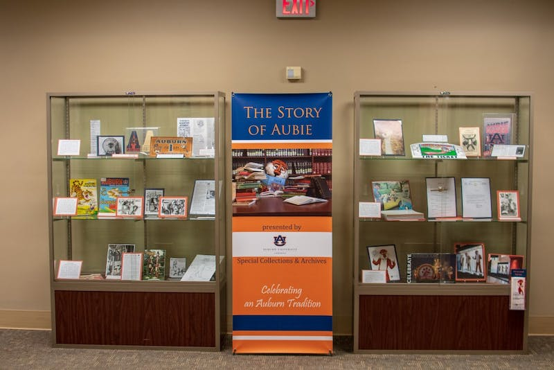 An exhibit featuring Aubie memorabilia sits in the Ralph Brown Draughon Library on Friday, Sept. 28, in Auburn, Ala.