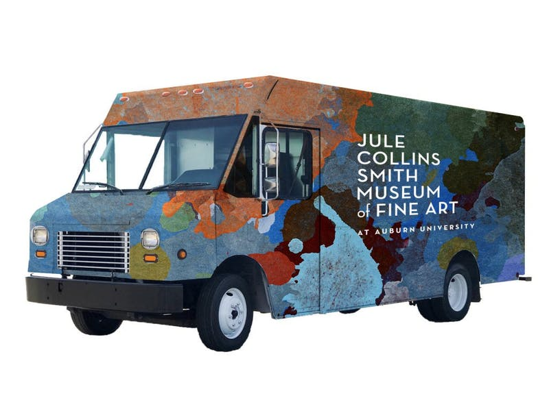 """A rendering of the type of delivery van used to create a """"Museum in Motion."""" Final graphics will include design input from Auburn students."""