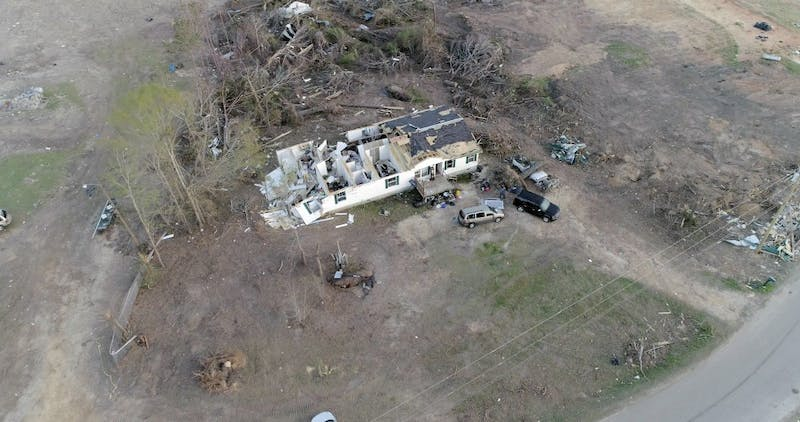 An areal photo shows damage to a home in the Beauregard community of Lee County.
