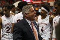 Coach Bruce Pearl shouts during Auburn Mens Basketball vs. CSUN on Friday, Nov. 15, 2019, in Auburn, Ala.