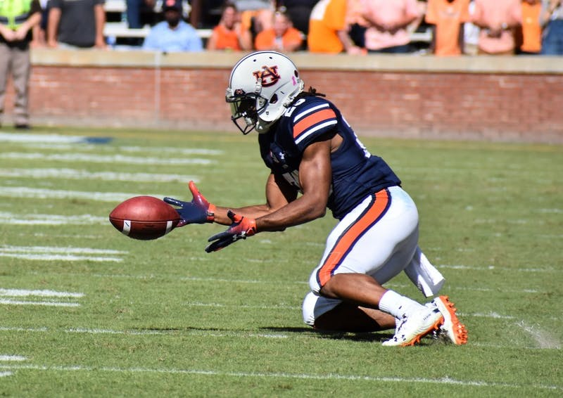 Ryan Davis (23) catches a pass during Auburn football vs. Tennessee on Oct. 13, 2018, in Auburn, Ala.