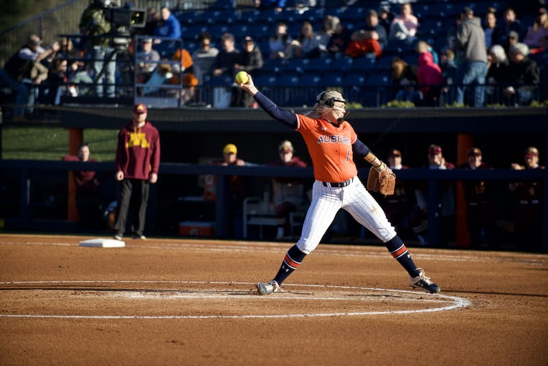Samantha Yarbrough (1) pitches in Auburn Softball vs. Minnesota on Feb. 29, 2020 in Auburn, AL