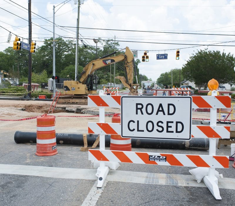 Construction at the intersection of Gay Street and Glenn Avenue on Thursday, May 18 in Auburn, Ala.