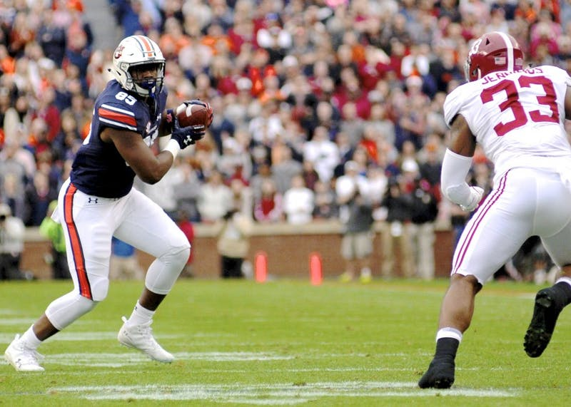 Jalen Harris (85) runs the ball during Auburn Football vs. Alabama on Saturday, Nov. 25, 2017, in Auburn, Ala.