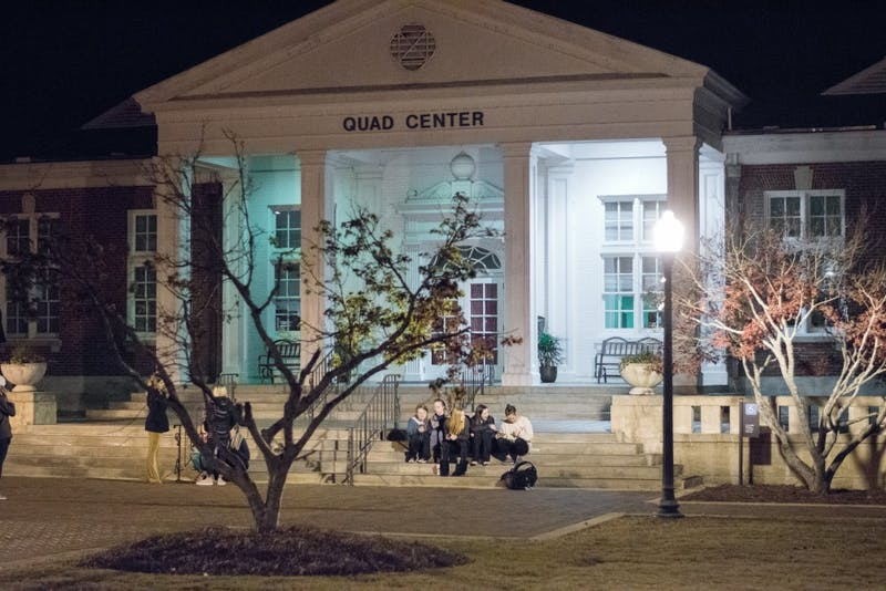 Students wait outside of the Quad Center on Auburn University's campus minutes before the callouts for the top 20 Miss Auburn candidates began on Monday, Nov. 27, 2017, in Auburn, Ala.