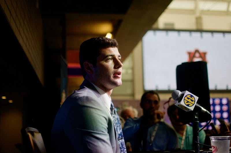 Jarrett Stidham answers a question during an interview at SEC Media Days in the College Football Hall of Fame on Thursday, July 19, 2018 in Atlanta, Ga.