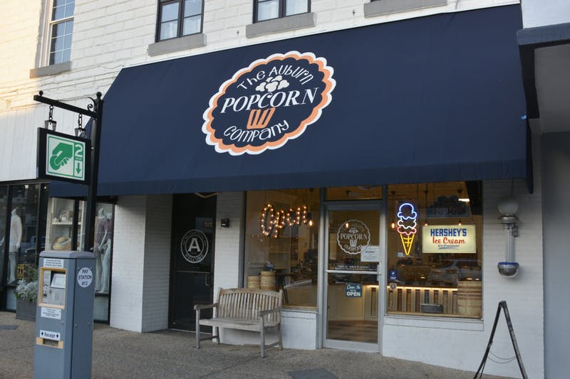 The storefront of The Auburn Popcorn Company on April 25, 2020, in Auburn, Ala.