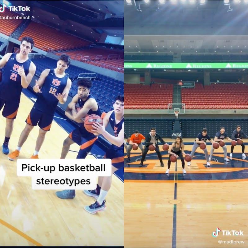 The Auburn bench does comedic videos (left) photo via @auburnbench on TikTok. The group also shows off its basketball skills (right) photo via @madiprew on TikTok.