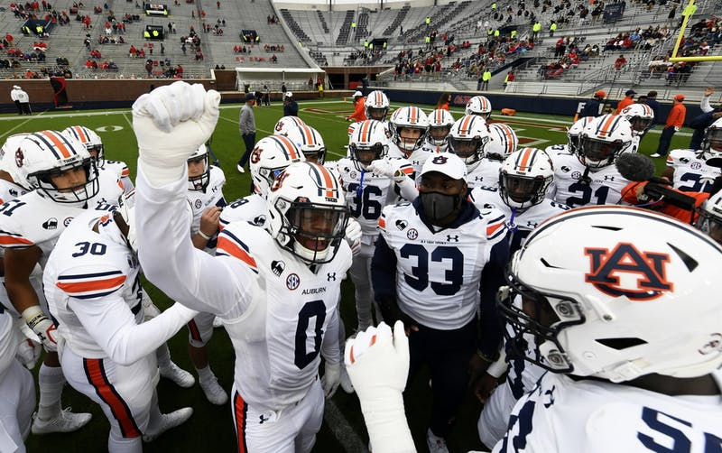 Team huddle before the game during the game between Auburn and Ole Miss at Vaught Hemingway Stadium on Oct 3, 2020; Oxford, MS, USA.