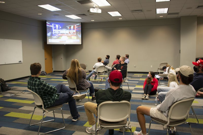 Members of the College Republicans meet in the Student Center to watch 2020 senate and presidential election results on Nov. 3, 2020, in Auburn, Ala.