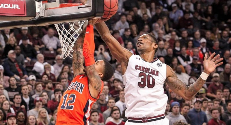 Chris Silva (30) vs. Auburn on Jan. 22, 2019, in Columbia, S.C. Via Travis Bell, South Carolina Athletics (GamecocksOnline.com).