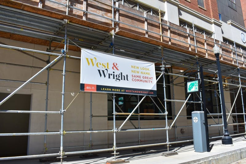 The scaffolding outside West & Wright in downtown Auburn on Tuesday, Sept. 24, 2019.