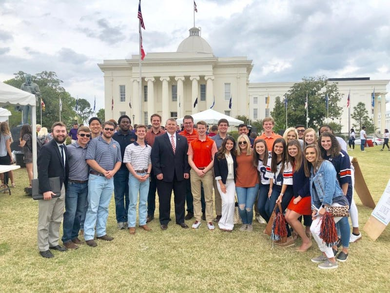 Auburn SGA Lobby Board members meeting with Rep.Joe Lovvorn, R-Auburn, in Montgomery, Ala. on April 4, 2019.