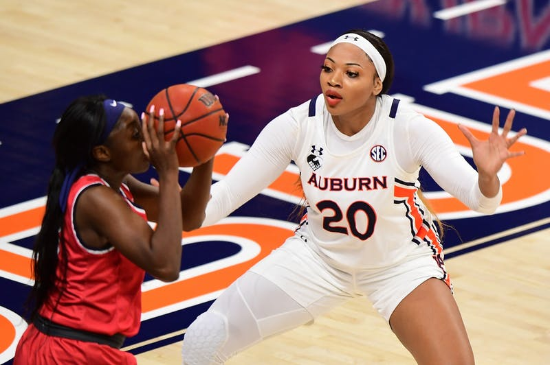 Unique Thompson (20) defends during the game between Auburn and Samford at Auburn Arena on Nov 28, 2020; Auburn, AL, USA. Photo via: Shanna Lockwood/AU Athletics