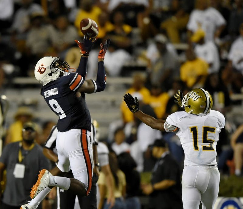 Auburn's Jamien Sherwood gets an interception in the second half during Alabama State Football vs Auburn on Saturday, Sept. 8, 2018 in Auburn, Ala.