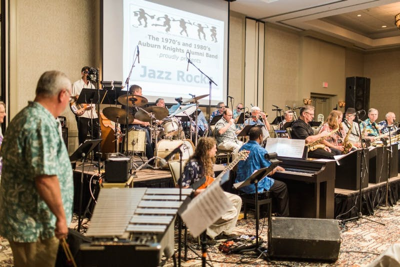 "The 70's/80's Band performs ""Jazz Rocks"" at the Auburn Knights Reunion at the Marriott Hotel and Conference Center at Grand National in Auburn, Ala on July, 8 2017."