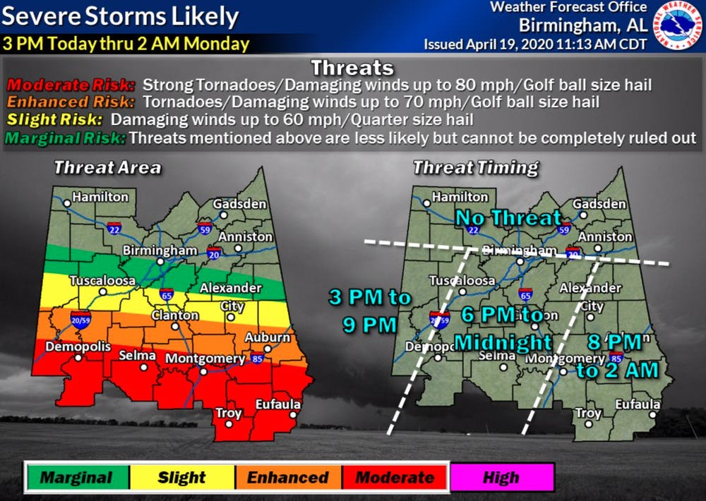 Severe weather expected in Auburn on Sunday afternoon