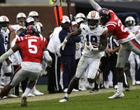 Seth Williams (18) runs the ball for touchdown during the game between Auburn and Ole Miss at Vaught Hemingway Stadium in Oct 3, 2020; Oxford, MS, USA.