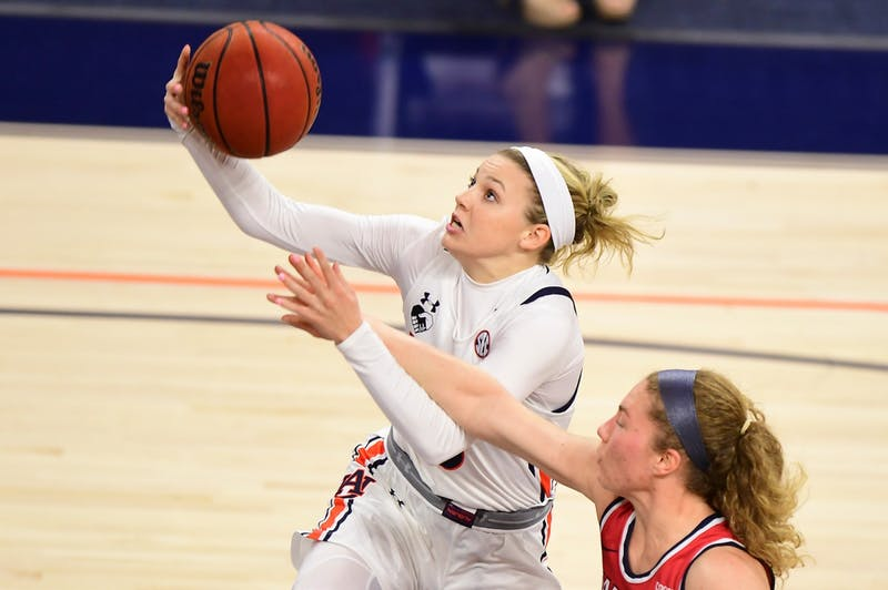 Annie Hughes (3) goes up for a shot during the game between Auburn and Samford at Auburn Arena on Nov 28, 2020; Auburn, AL, USA. Photo via: Shanna Lockwood/AU Athletics