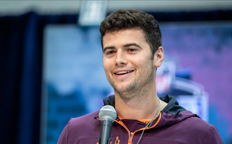 Jarrett Stidham (1) speaks to the media during the 2019 NFL Combine on March 1. Photo via DetroitLions.com.