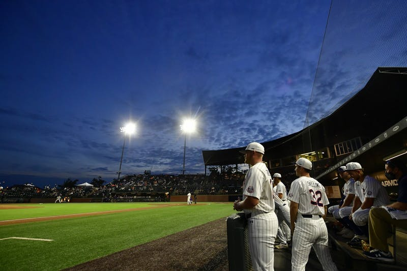 View of the sky from the dugout during the game between Auburn and North Alabama at Plainsman Park on May 18, 2021; Auburn, AL, USA. Photo via: Shanna Lockwood/AU Athletics