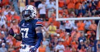 Deshaun Davis (57) celebrates during Auburn football vs. LSU on Sept. 15, 2018, in Auburn, Ala.