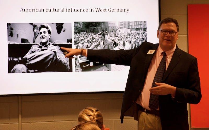 Paul Harris gives a presentation at Kaffee und Kuchen, on Wednesday, Oct. 3, 2018 in Auburn, Ala.