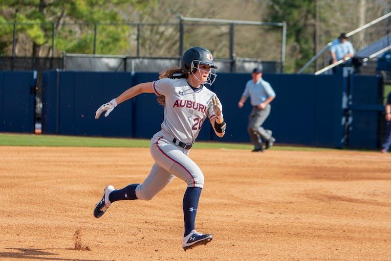 Rachel Cook (20) runs to third base during Auburn softball vs. Villanova on Friday, Feb. 22, 2019, in Auburn, Ala.