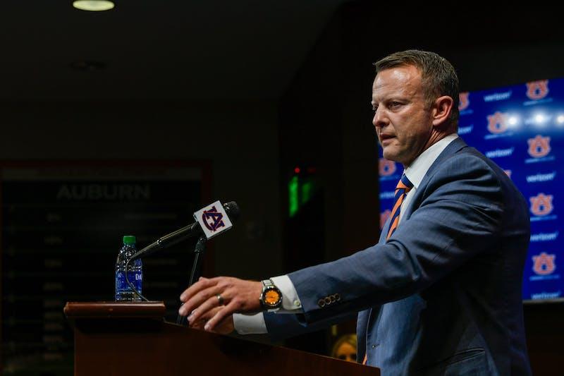 Bryan Harsin answering questions from the media at his press conference at Auburn Dec 24, 2020; Auburn AL, USA. Photo via: Todd Van Emst/AU Athletics