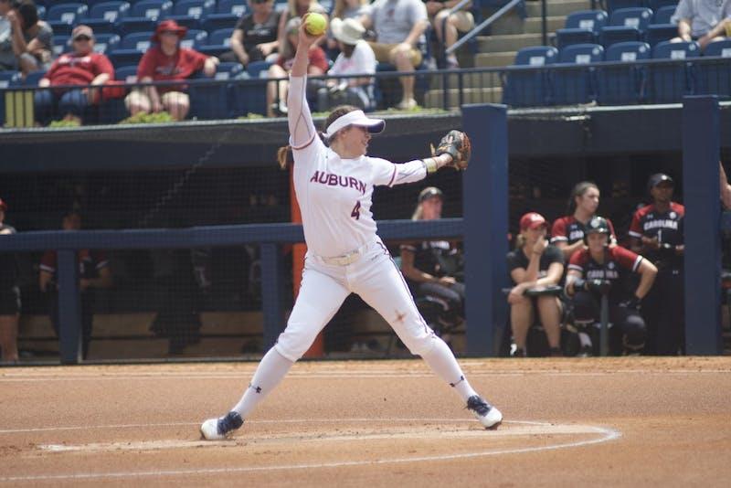 Ashlee Swindle (4) pitches the ball during the Auburn softball vs. South Carolina game, Sunday, April 14, 2019, in Auburn, Ala.