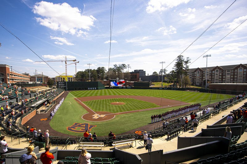 Mar 14, 2021; Auburn, AL, USA; Overall view during the national anthem before the game between Auburn and Little Rock at Plainsman Park. Mandatory Credit: Shanna Lockwood/AU Athletics