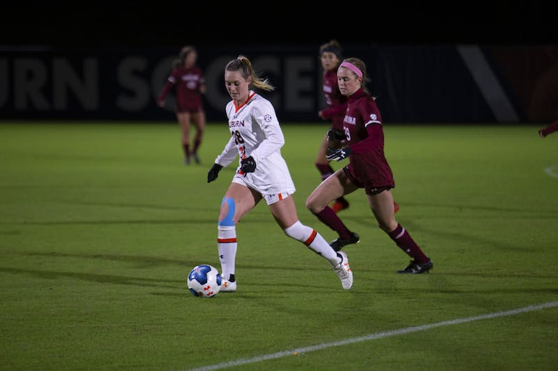 Treva Aycock (28) kicks the ball during the Auburn vs. South Carolina soccer game on Oct. 31, 2019, in Auburn, Alabama.
