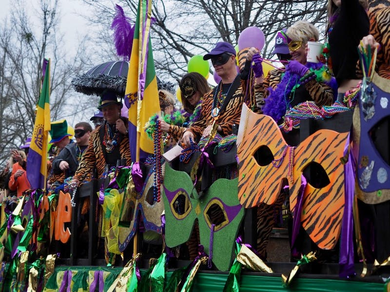 Parade float at the Auburn Mardi Gras Parade on Sat, Mar. 2, 2019 in Auburn, Ala.