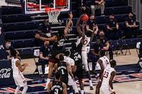 Mar 6, 2021; Auburn, AL, USA; Auburn Tigers forward JT Thor (10) gets a rebound during the game between Auburn and Mississippi State at Auburn Arena. Mandatory Credit: Jacob Taylor/AU Athletics