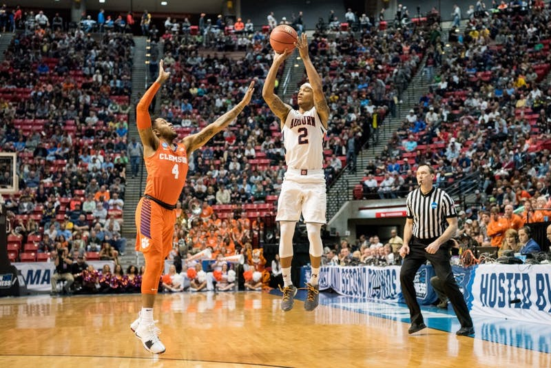 Bryce Brown (2) shoots from the 3-point line during Auburn basketball vs. Clemson on Sunday, March 18, 2018, at Viejas Arena in San Diego, Calif.