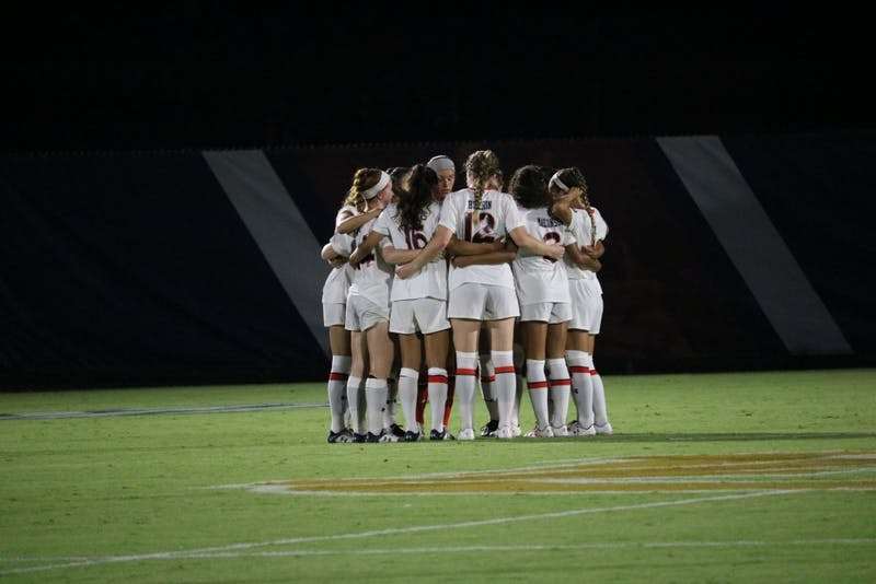 Auburn Womens soccer team prays for a win during the Auburn vs. Mississippi State game Friday Sept. 14 in Auburn, Ala.