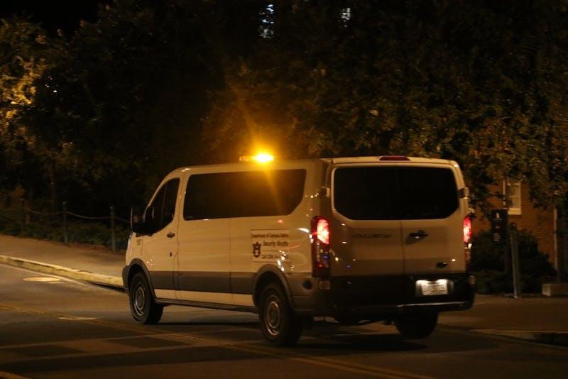 Auburn University Security Shuttle picks up students during night hours on Thursday Aug. 30 in Auburn, Ala.
