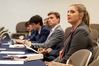 Senators listen at SGA Senate in Auburn, Ala. on Monday, April 23, 2018.