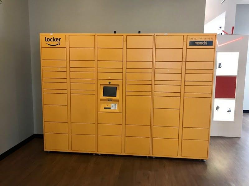 An Amazon locker sits near the Student Center Chick-fil-A on Tuesday, Jan. 22, 2019, in Auburn, Ala.