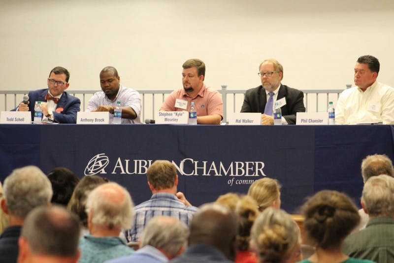 """The Ward 2candidatesfor Auburn's City Council answered the audience's questions at a forum on Thursday night, Aug. 23, 2018, in Auburn, Ala. From left to right: Todd Scholl, Anthony Brock, Stephen """"Kyle"""" Moseley, Hal Walker and Phil Chansler."""