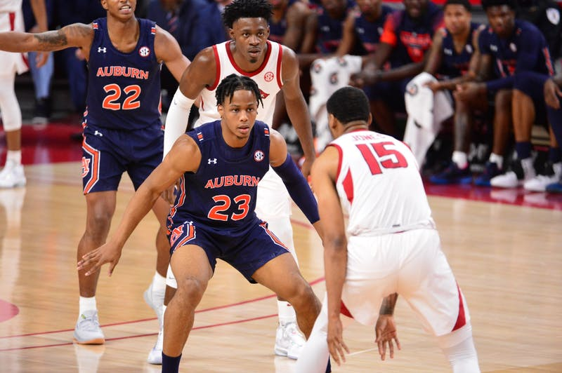 Isaac Okoro (23) looks up the court in Auburn Men's Basketball vs. Arkansas on Tues., Feb. 4, 2020, in Fayetteville, Ark.