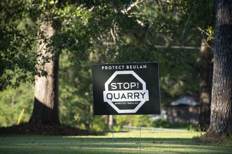 Signs are made available to Lee County residents who oppose the quarry proposed for Beulah.