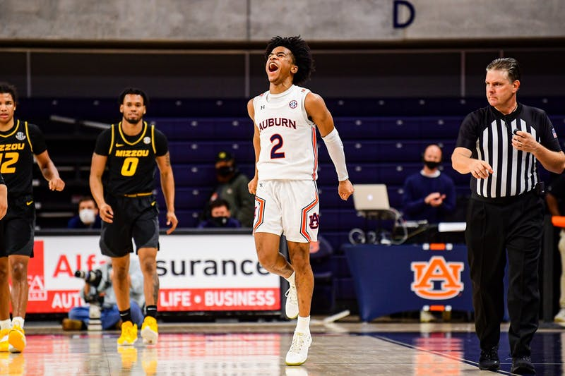 Jan 21, 2021; Auburn, AL, USA; Auburn Tigers guard Sharife Cooper (2) reacts after the game during the game between Auburn and Missouri at Auburn Arena. Mandatory Credit: Shanna Lockwood/AU Athletics